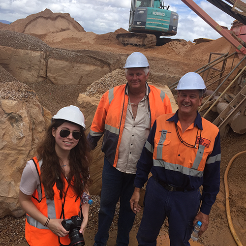 UQ UConn CIBER Sustainable Business Program participant with Rock Trade Industries owner Allan Payne and Mines Inspector Neil Randolph.